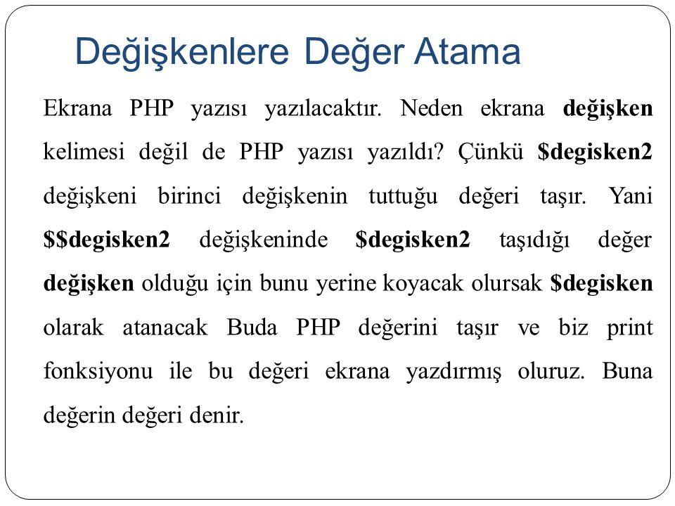 Değişkenlere Değer Atama Ekrana PHP yazısı yazılacaktır. Neden ekrana değişken kelimesi değil de PHP yazısı yazıldı? Çünkü $degisken2 değişkeni birinc