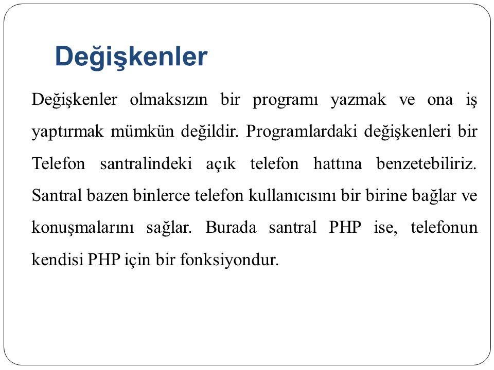 Değişkenlere Değer Atama <?php $degisken= PHP ; $degisken2= degisken ; print $$degisken2; ?>