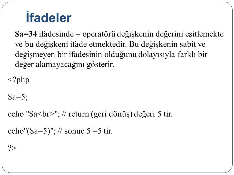 İfadeler $a=34 ifadesinde = operatörü değişkenin değerini eşitlemekte ve bu değişkeni ifade etmektedir. Bu değişkenin sabit ve değişmeyen bir ifadesin