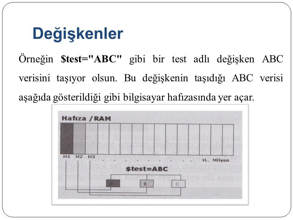 Değişkenlere Değer Atama <?php $bir= iki ; $iki= bir ; $uc= bir ; print $$$uc; ?>