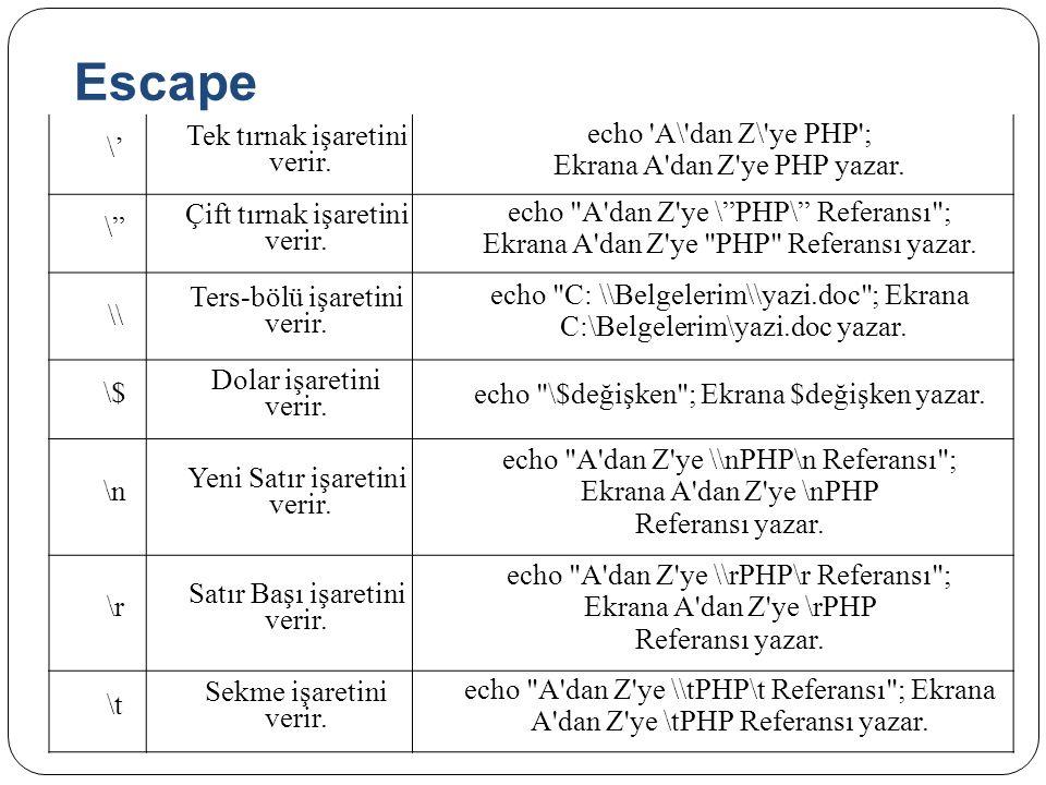 "Escape \' Tek tırnak işaretini verir. echo 'A\'dan Z\'ye PHP'; Ekrana A'dan Z'ye PHP yazar. \"" Çift tırnak işaretini verir. echo"