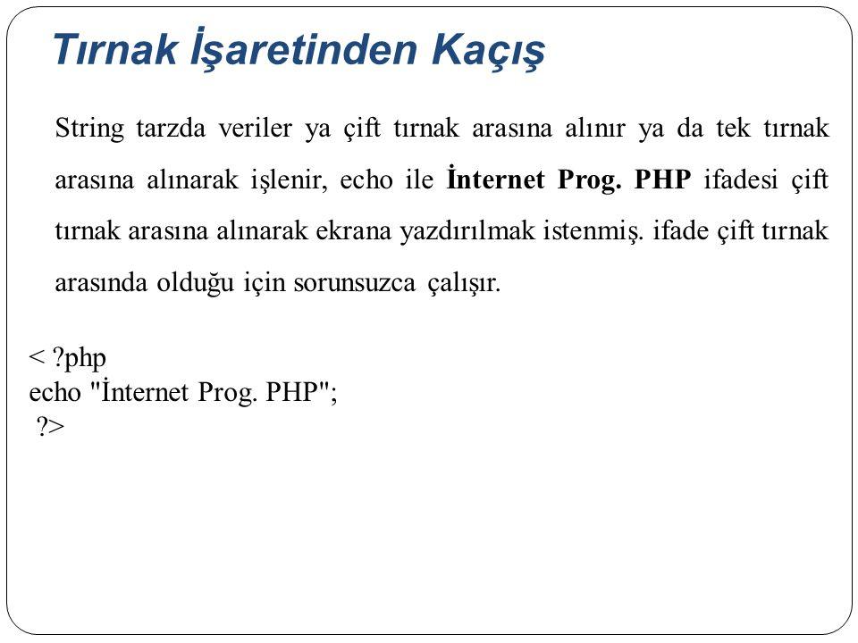 Tırnak İşaretinden Kaçış String tarzda veriler ya çift tırnak arasına alınır ya da tek tırnak arasına alınarak işlenir, echo ile İnternet Prog. PHP if
