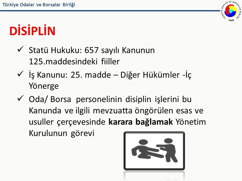 Türkiye Odalar ve Borsalar Birliği DİSİPLİN Statü Hukuku: 657 sayılı Kanunun 125.maddesindeki fiiller İş Kanunu: 25.
