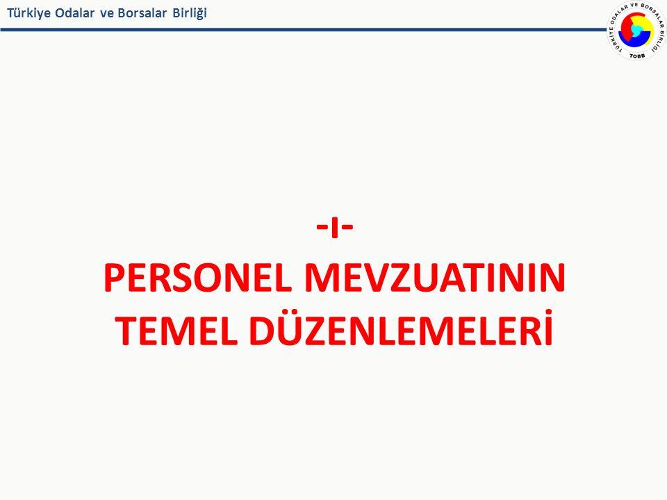 Türkiye Odalar ve Borsalar Birliği İş İlişkisinin Sona Ermesi Ayrılma tazminatı (Statü Hukuku, Personel Yönetmeliği 32) Sebepleri: Emeklilik/ Malullük / Yaş Haddi / Ölüm / Cezaen olmamak şartı ile işten çıkarılma Hesabı;  Her tam hizmet yılı için son ücretin brüt tutarı  Hizmetin 30 yıldan fazlası (?)  Memurlara Ödenen emekli ikramiyesi tavanı