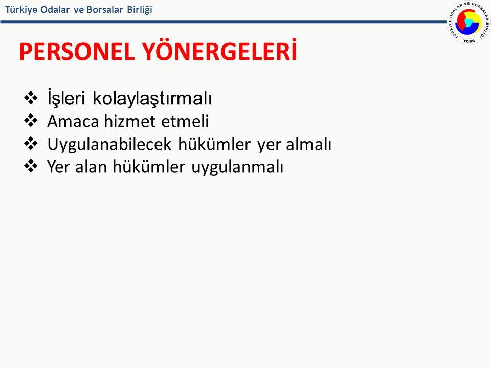Türkiye Odalar ve Borsalar Birliği PERSONEL YÖNERGELERİ  İşleri kolaylaştırmalı  Amaca hizmet etmeli  Uygulanabilecek hükümler yer almalı  Yer alan hükümler uygulanmalı