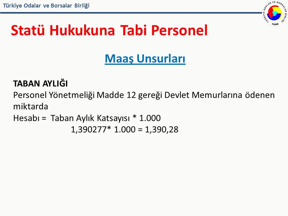 Türkiye Odalar ve Borsalar Birliği Statü Hukukuna Tabi Personel Maaş Unsurları TABAN AYLIĞI Personel Yönetmeliği Madde 12 gereği Devlet Memurlarına ödenen miktarda Hesabı = Taban Aylık Katsayısı * 1.000 1,390277* 1.000 = 1,390,28