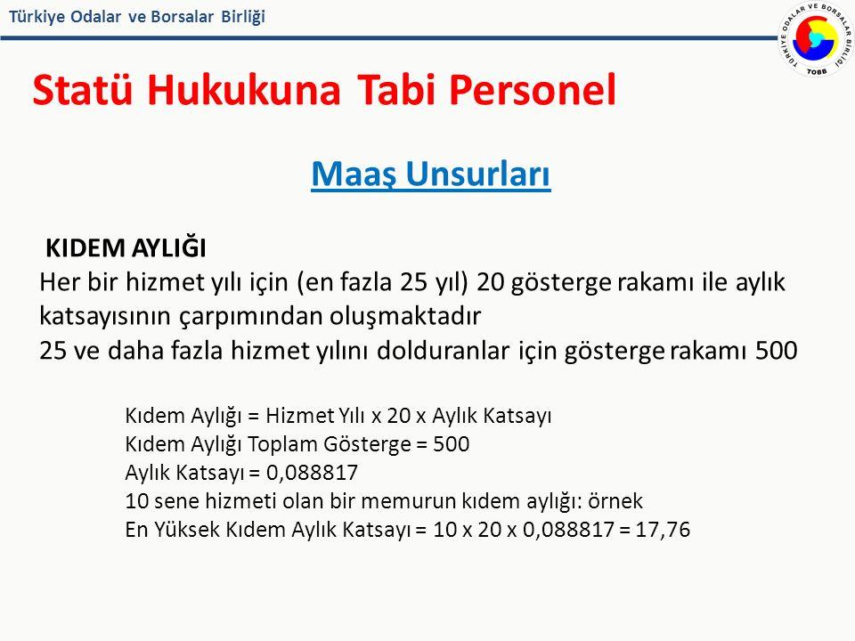 Türkiye Odalar ve Borsalar Birliği Statü Hukukuna Tabi Personel Maaş Unsurları KIDEM AYLIĞI Her bir hizmet yılı için (en fazla 25 yıl) 20 gösterge rakamı ile aylık katsayısının çarpımından oluşmaktadır 25 ve daha fazla hizmet yılını dolduranlar için gösterge rakamı 500 Kıdem Aylığı = Hizmet Yılı x 20 x Aylık Katsayı Kıdem Aylığı Toplam Gösterge = 500 Aylık Katsayı = 0,088817 10 sene hizmeti olan bir memurun kıdem aylığı: örnek En Yüksek Kıdem Aylık Katsayı = 10 x 20 x 0,088817 = 17,76