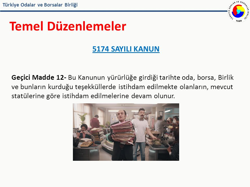 Türkiye Odalar ve Borsalar Birliği Temel Düzenlemeler TOBB Kanunu ve Yönetmelikleri her statüdeki personeli bağlar Ayrıca; - Eski statüdeki personel için 1983 tarihli Personel Yönetmeliği - İş Kanununa tabi personel için İş Kanunu İlgili Yönetmelikler İş sözleşmesi