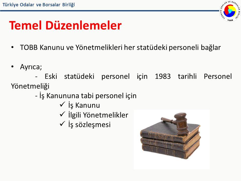 Türkiye Odalar ve Borsalar Birliği İş Kanununa Tabi Personel İŞ KANUNU İş sözleşmesi ihtiyaca uygun türde düzenlenebilir (Madde 9) Belirli süreli iş sözleşmesi zincirleme yapılamaz Esaslı neden varsa üst üste süreli sözleşme yapılabilir( Madde11 ) Deneme süresi en çok iki ay Bu süre içinde taraflar iş sözleşmesini bildirim süresine gerek olmaksızın ve tazminatsız feshedebilir (Madde 15)