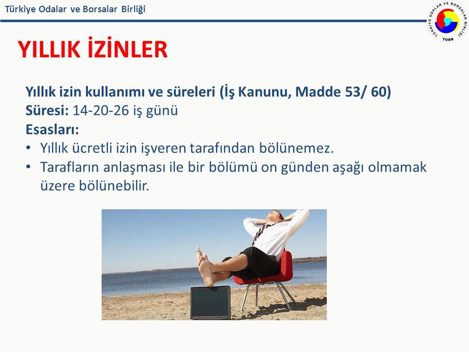 Türkiye Odalar ve Borsalar Birliği YILLIK İZİNLER Yıllık izin kullanımı ve süreleri (İş Kanunu, Madde 53/ 60) Süresi: 14-20-26 iş günü Esasları: Yıllık ücretli izin işveren tarafından bölünemez.