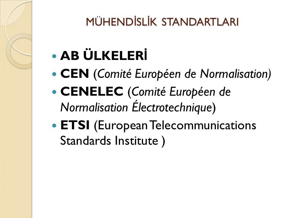 AB ÜLKELER İ CEN (Comité Européen de Normalisation) CENELEC (Comité Européen de Normalisation Électrotechnique) ETSI (European Telecommunications Standards Institute ) MÜHEND İ SL İ K STANDARTLARI