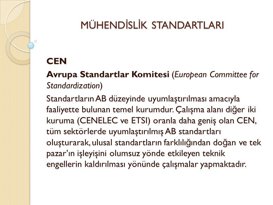 CEN Avrupa Standartlar Komitesi (European Committee for Standardization) Standartların AB düzeyinde uyumlaştırılması amacıyla faaliyette bulunan temel kurumdur.