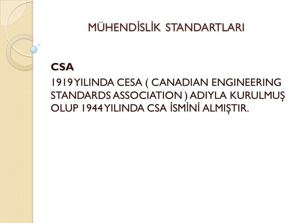 MÜHEND İ SL İ K STANDARTLARI CSA 1919 YILINDA CESA ( CANADIAN ENGINEERING STANDARDS ASSOCIATION ) ADIYLA KURULMUŞ OLUP 1944 YILINDA CSA İ SM İ N İ ALMIŞTIR.