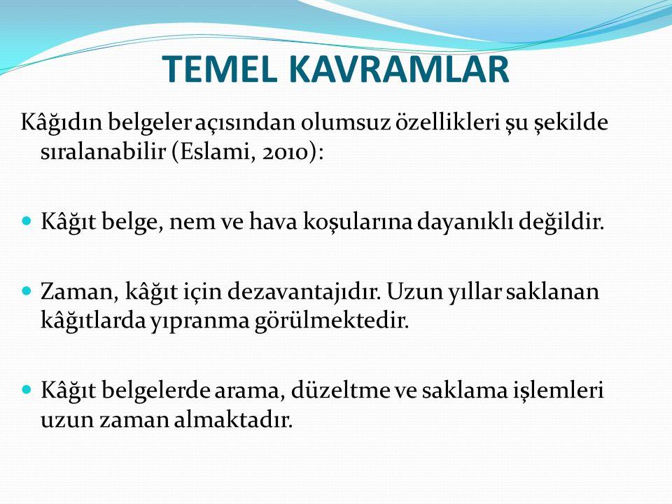 TEMEL KAVRAMLAR Kâğıdın belgeler açısından olumsuz özellikleri şu şekilde sıralanabilir (Eslami, 2010): Kâğıt belge, nem ve hava koşularına dayanıklı değildir.
