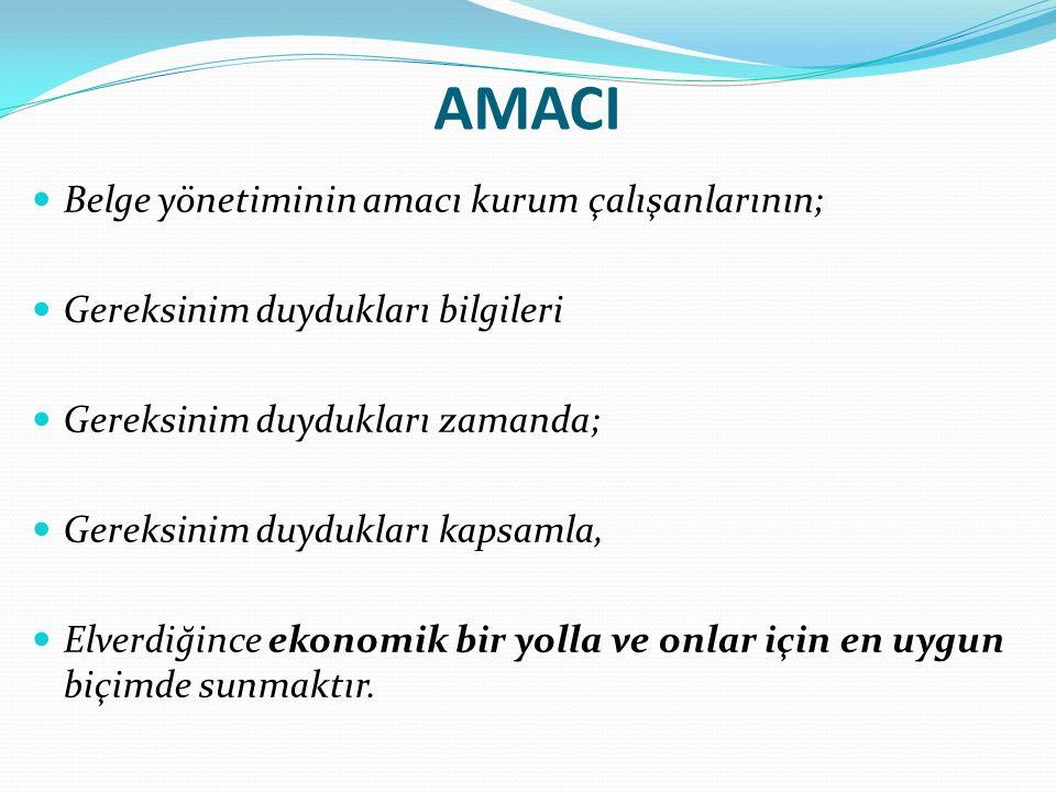 AMACI Belge yönetiminin amacı kurum çalışanlarının; Gereksinim duydukları bilgileri Gereksinim duydukları zamanda; Gereksinim duydukları kapsamla, Elverdiğince ekonomik bir yolla ve onlar için en uygun biçimde sunmaktır.