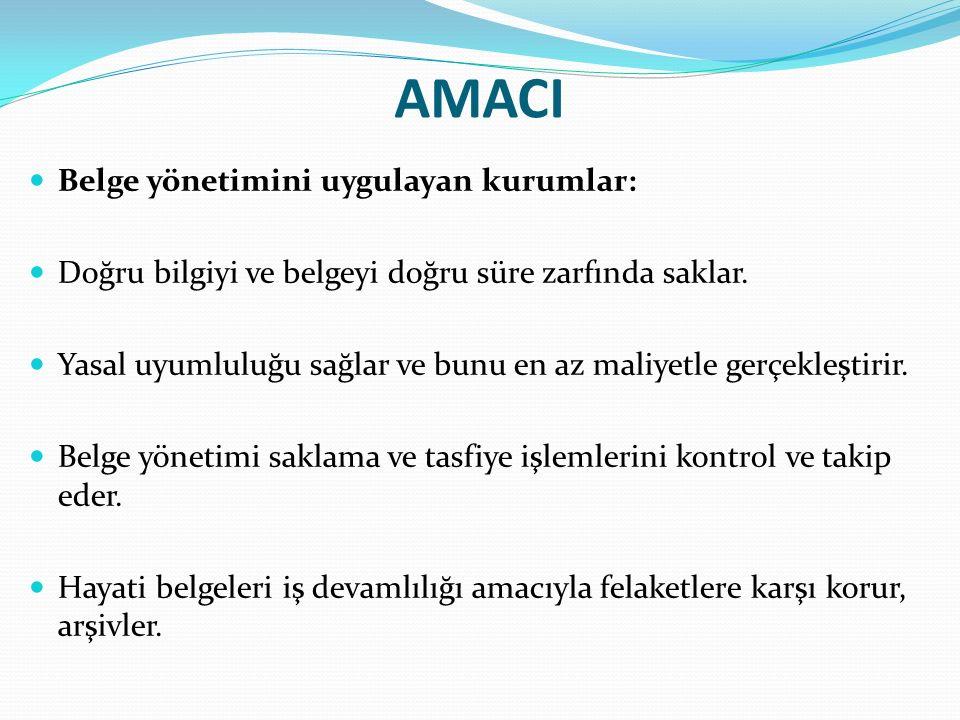 AMACI Belge yönetimini uygulayan kurumlar: Doğru bilgiyi ve belgeyi doğru süre zarfında saklar.