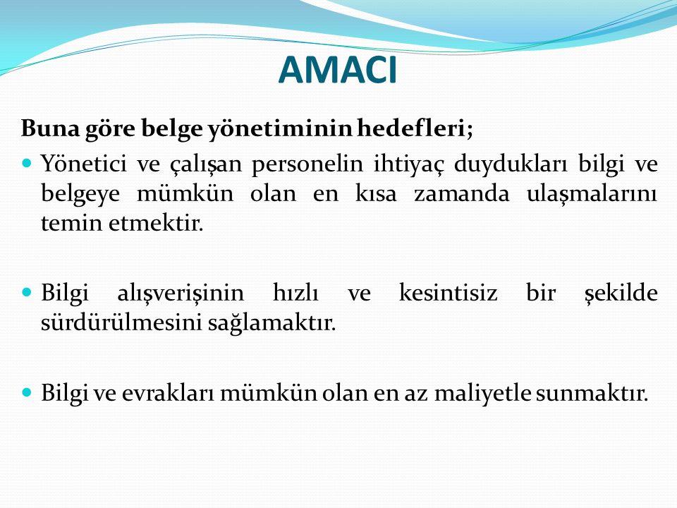 AMACI Buna göre belge yönetiminin hedefleri; Yönetici ve çalışan personelin ihtiyaç duydukları bilgi ve belgeye mümkün olan en kısa zamanda ulaşmalarını temin etmektir.