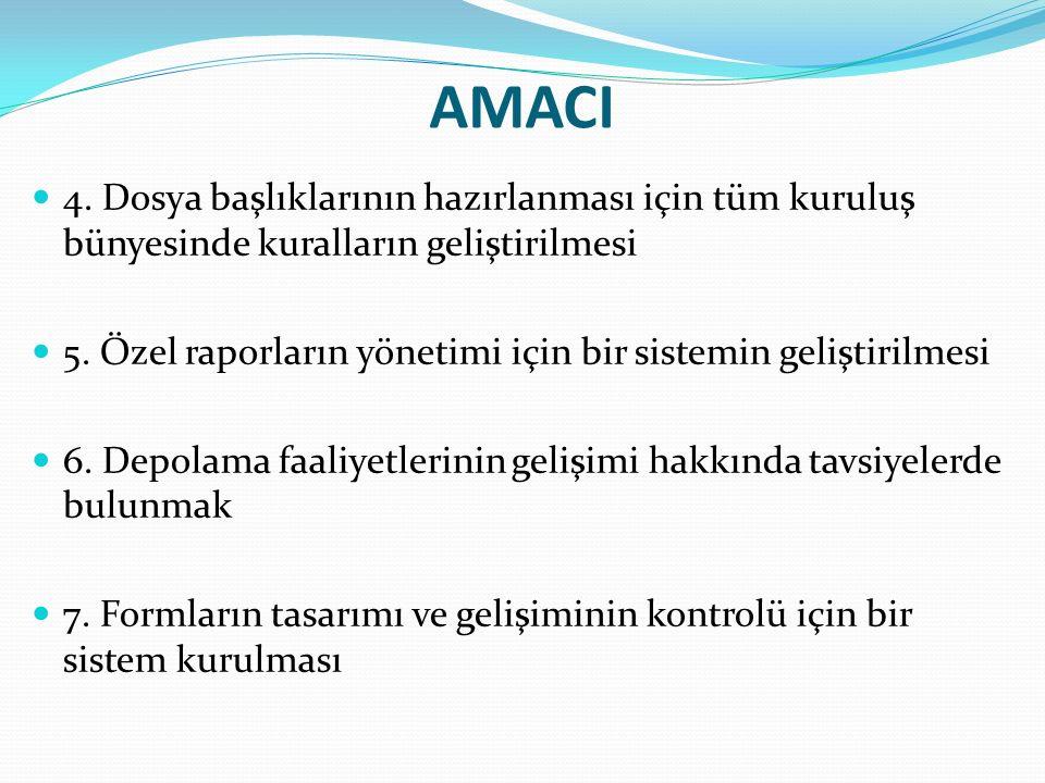AMACI 4. Dosya başlıklarının hazırlanması için tüm kuruluş bünyesinde kuralların geliştirilmesi 5.