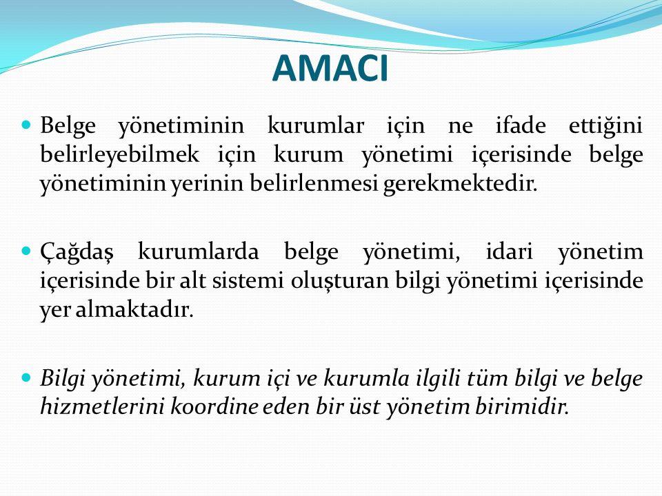 AMACI Belge yönetiminin kurumlar için ne ifade ettiğini belirleyebilmek için kurum yönetimi içerisinde belge yönetiminin yerinin belirlenmesi gerekmektedir.