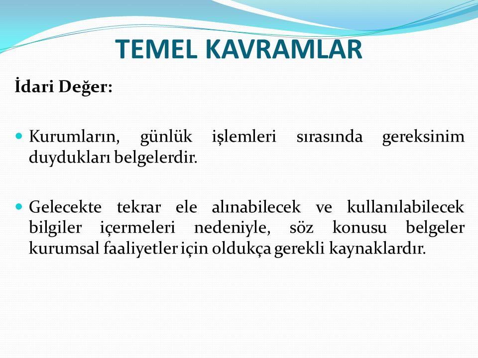 TEMEL KAVRAMLAR İdari Değer: Kurumların, günlük işlemleri sırasında gereksinim duydukları belgelerdir.