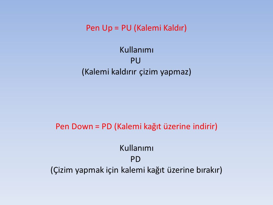 Pen Up = PU (Kalemi Kaldır) Kullanımı PU (Kalemi kaldırır çizim yapmaz) Pen Down = PD (Kalemi kağıt üzerine indirir) Kullanımı PD (Çizim yapmak için k