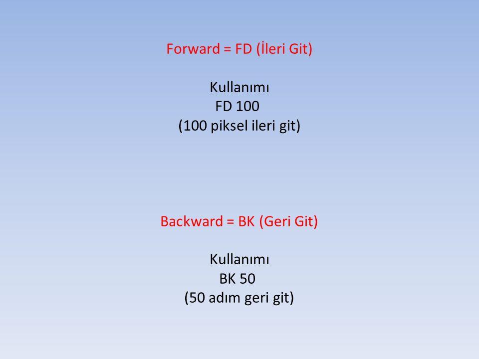 Forward = FD (İleri Git) Kullanımı FD 100 (100 piksel ileri git) Backward = BK (Geri Git) Kullanımı BK 50 (50 adım geri git)
