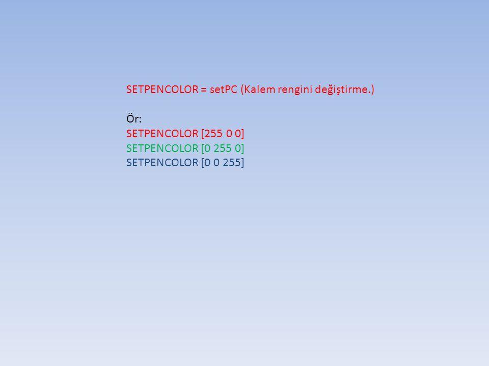 SETPOS [n n] (Kaplumbağayı x, y koordinatlarına göre ayarlama) Örnek: SETPOS [50 5] SETHEADING n (Kaplumbağayı belirtilen derece yönüne döndürme) Örnek: SETHEADING 30