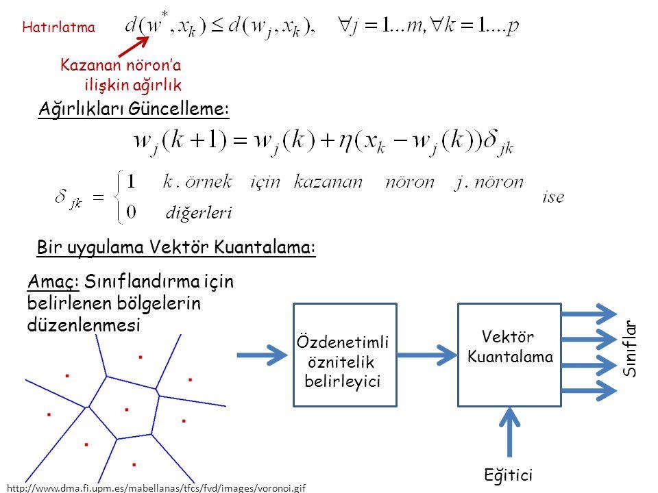 Verilenler: Voroni vektörleri, giriş vektörleri Voroni vektörü 'ye ilişkin sınıf girişinin ait olduğu sınıf Kazananı bul Öğrenme Kuralı: Ağırlıkları güncelle Ağırlıkları Güncelleme: ve 'ye en yakın Voroni vektörü ise ve 'ye en yakın Voroni vektörü ise Diğer Voroni vektörleri aynı kalıyor Hatırlatma
