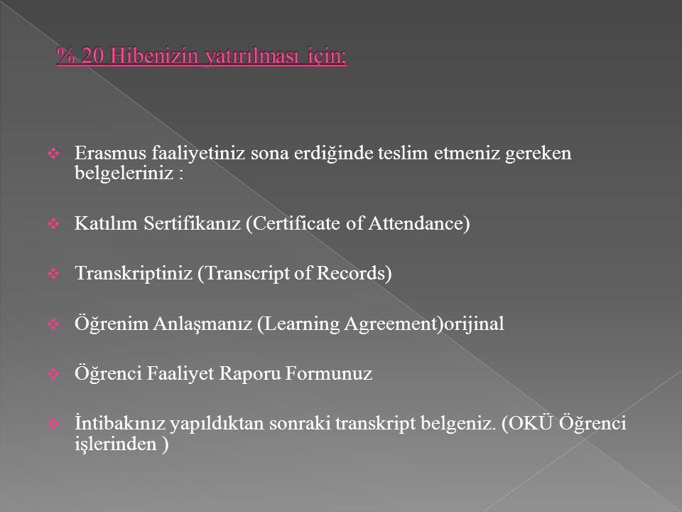  Erasmus faaliyetiniz sona erdiğinde teslim etmeniz gereken belgeleriniz :  Katılım Sertifikanız (Certificate of Attendance)  Transkriptiniz (Transcript of Records)  Öğrenim Anlaşmanız (Learning Agreement)orijinal  Öğrenci Faaliyet Raporu Formunuz  İntibakınız yapıldıktan sonraki transkript belgeniz.