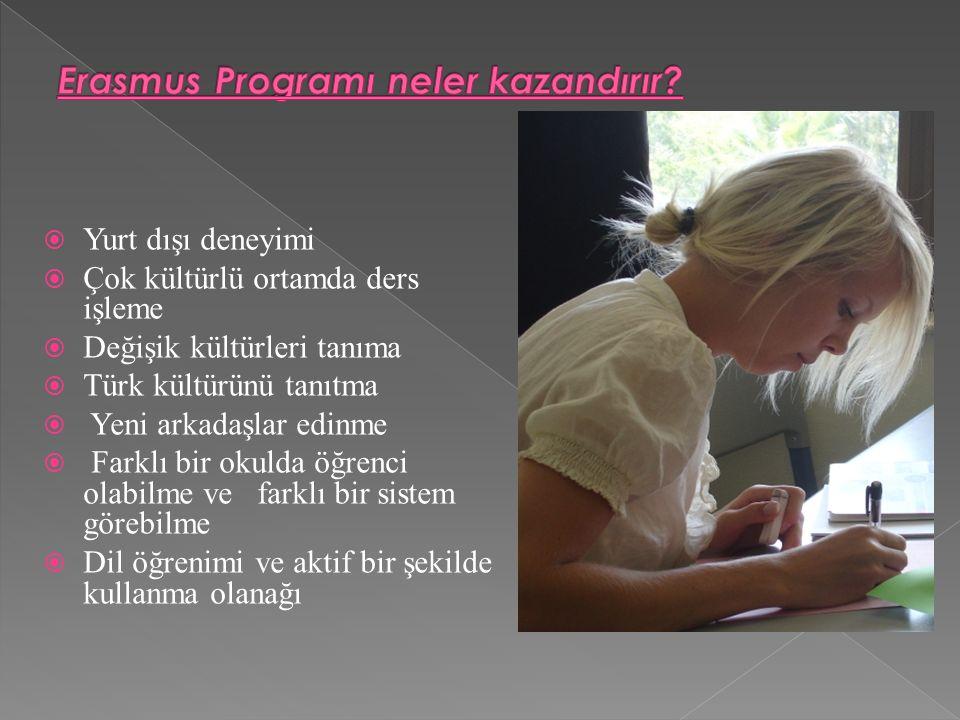  Yurt dışı deneyimi  Çok kültürlü ortamda ders işleme  Değişik kültürleri tanıma  Türk kültürünü tanıtma  Yeni arkadaşlar edinme  Farklı bir okulda öğrenci olabilme ve farklı bir sistem görebilme  Dil öğrenimi ve aktif bir şekilde kullanma olanağı