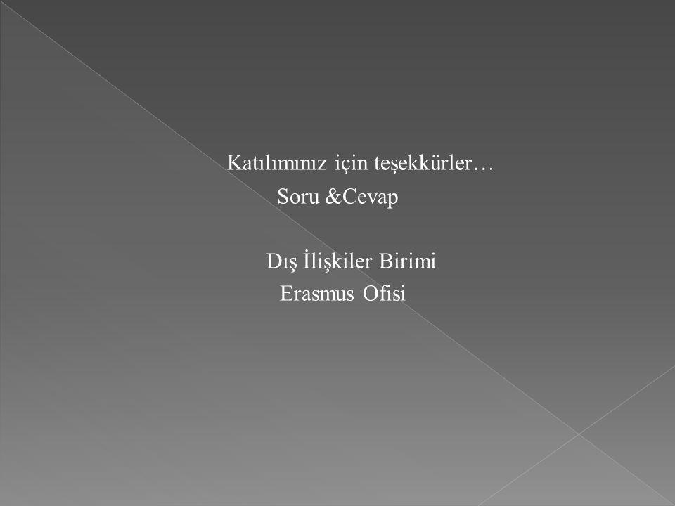 Katılımınız için teşekkürler… Soru &Cevap Dış İlişkiler Birimi Erasmus Ofisi