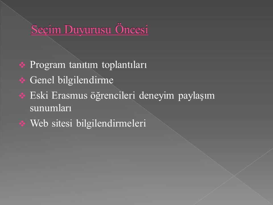 Program tanıtım toplantıları  Genel bilgilendirme  Eski Erasmus öğrencileri deneyim paylaşım sunumları  Web sitesi bilgilendirmeleri