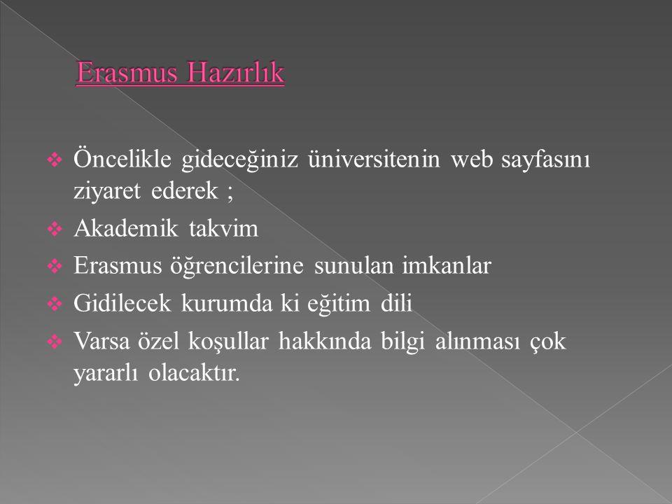  Öncelikle gideceğiniz üniversitenin web sayfasını ziyaret ederek ;  Akademik takvim  Erasmus öğrencilerine sunulan imkanlar  Gidilecek kurumda ki