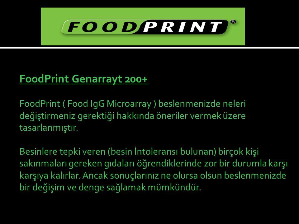FoodPrint Genarrayt 200+ FoodPrint ( Food IgG Microarray ) beslenmenizde neleri değiştirmeniz gerektiği hakkında öneriler vermek üzere tasarlanmıştır.