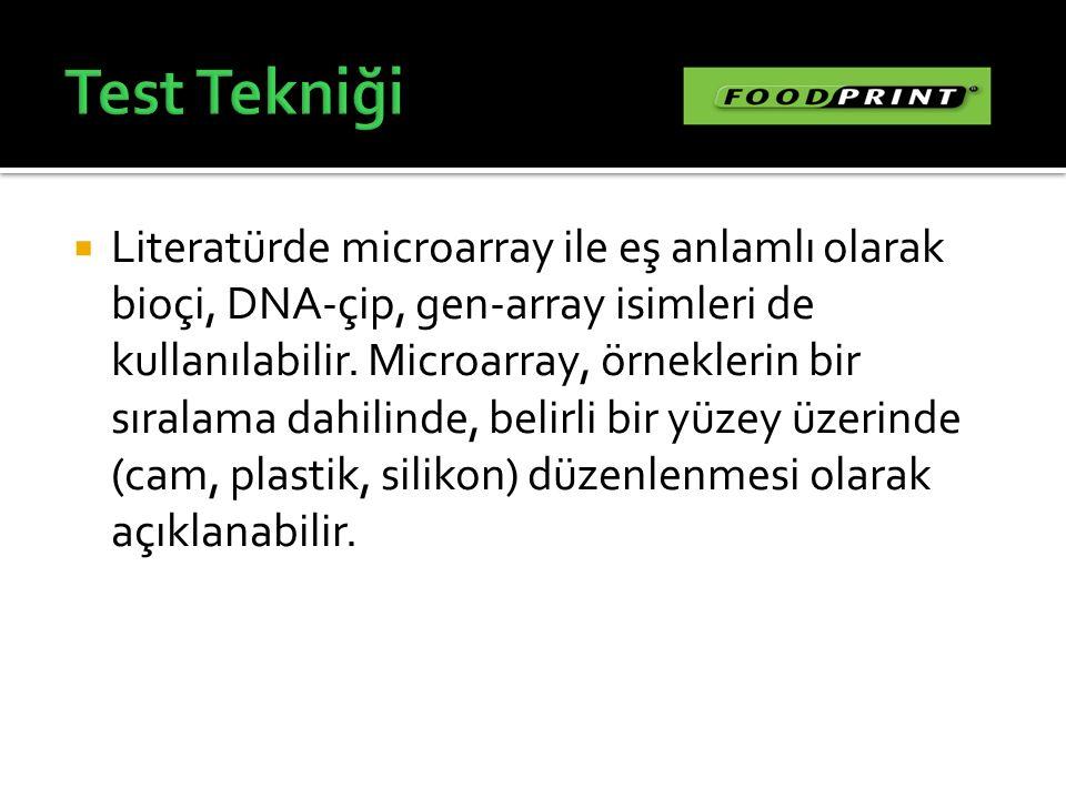  Literatürde microarray ile eş anlamlı olarak bioçi, DNA-çip, gen-array isimleri de kullanılabilir. Microarray, örneklerin bir sıralama dahilinde, be