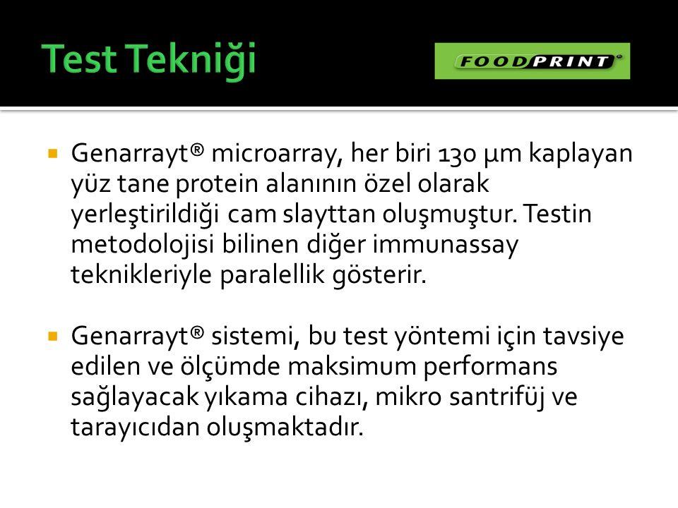  Genarrayt® microarray, her biri 130 µm kaplayan yüz tane protein alanının özel olarak yerleştirildiği cam slayttan oluşmuştur. Testin metodolojisi b