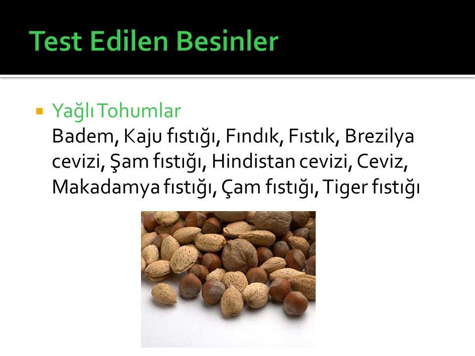  Yağlı Tohumlar Badem, Kaju fıstığı, Fındık, Fıstık, Brezilya cevizi, Şam fıstığı, Hindistan cevizi, Ceviz, Makadamya fıstığı, Çam fıstığı, Tiger fıs