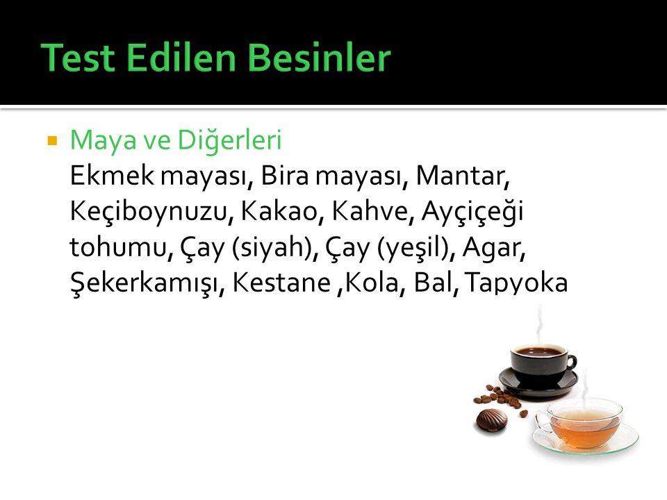  Maya ve Diğerleri Ekmek mayası, Bira mayası, Mantar, Keçiboynuzu, Kakao, Kahve, Ayçiçeği tohumu, Çay (siyah), Çay (yeşil), Agar, Şekerkamışı, Kestan