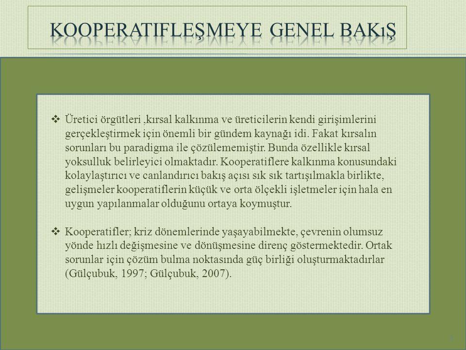  Dünya'da toplam kooperatif sayısı; 2.514.598, toplam kooperatiflerin içerisinde tarıma ait kooperatif sayısı; 1.224.650 'dir.