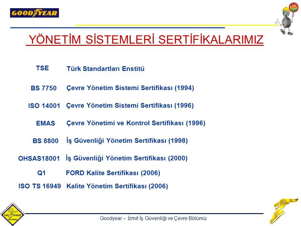 Goodyear – İzmit İş Güvenliği ve Çevre Bölümü Türk Standartları Enstitü TSE ISO TS 16949Kalite Yönetim Sertifikası (2006) Çevre Yönetim Sistemi Sertif
