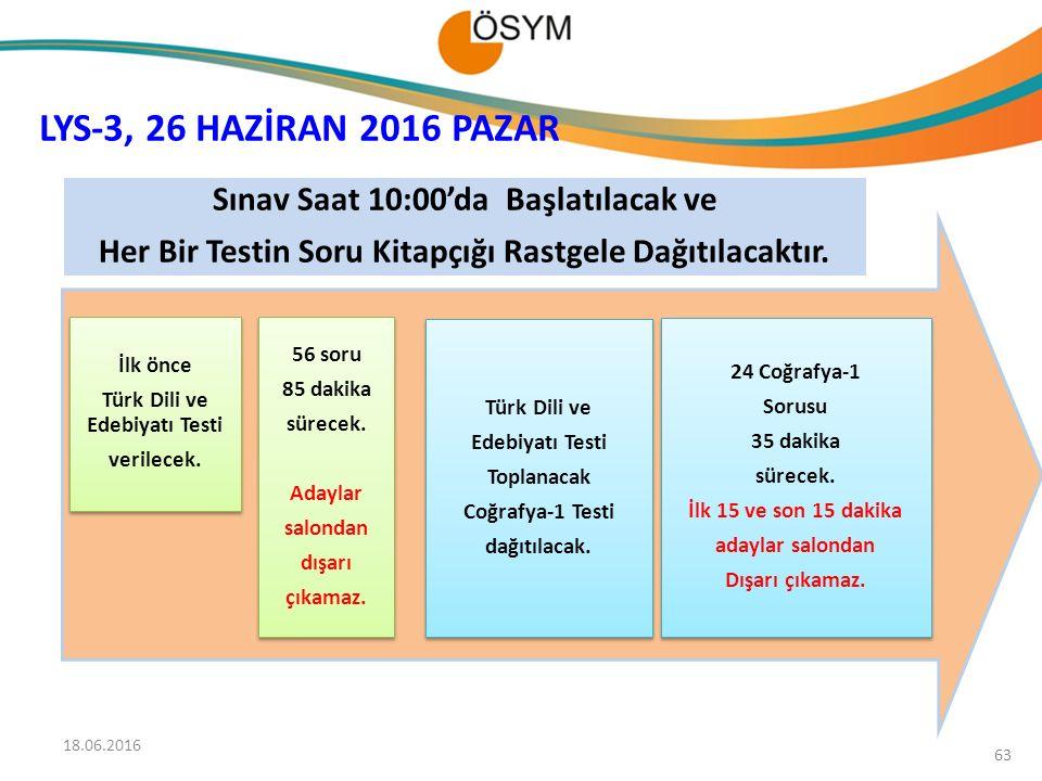 İlk önce Türk Dili ve Edebiyatı Testi verilecek. İlk önce Türk Dili ve Edebiyatı Testi verilecek. 24 Coğrafya-1 Sorusu 35 dakika sürecek. İlk 15 ve so