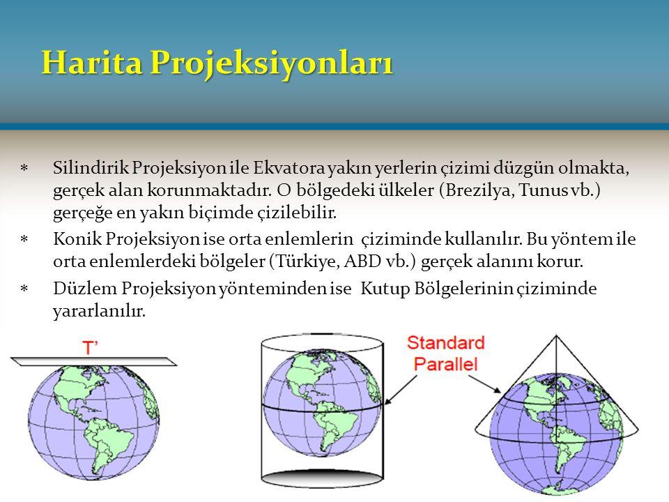 Harita Projeksiyonları  Silindirik Projeksiyon ile Ekvatora yakın yerlerin çizimi düzgün olmakta, gerçek alan korunmaktadır. O bölgedeki ülkeler (Bre
