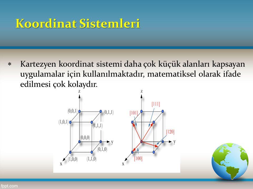 Koordinat Sistemleri  Kartezyen koordinat sistemi daha çok küçük alanları kapsayan uygulamalar için kullanılmaktadır, matematiksel olarak ifade edilm