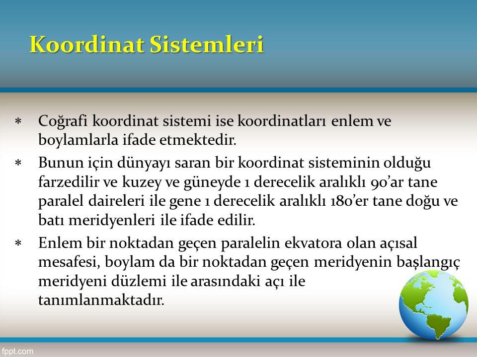 Koordinat Sistemleri  Coğrafi koordinat sistemi ise koordinatları enlem ve boylamlarla ifade etmektedir.  Bunun için dünyayı saran bir koordinat sis