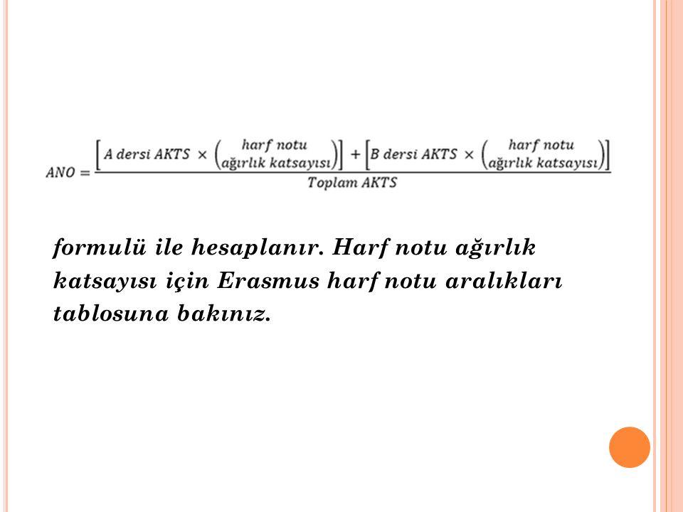 formulü ile hesaplanır. Harf notu ağırlık katsayısı için Erasmus harf notu aralıkları tablosuna bakınız.