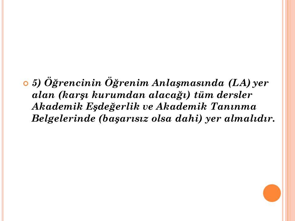 5) Öğrencinin Öğrenim Anlaşmasında (LA) yer alan (karşı kurumdan alacağı) tüm dersler Akademik Eşdeğerlik ve Akademik Tanınma Belgelerinde (başarısız