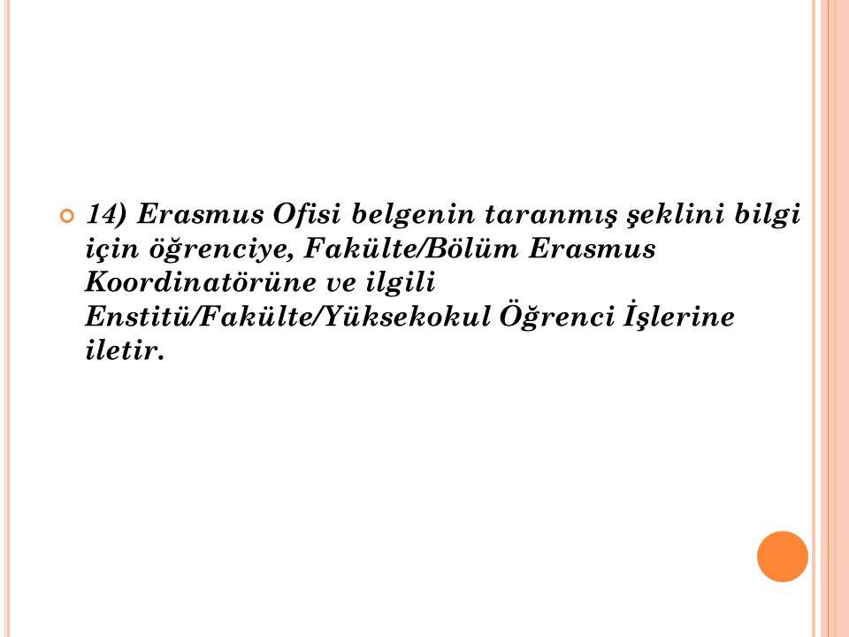 14) Erasmus Ofisi belgenin taranmış şeklini bilgi için öğrenciye, Fakülte/Bölüm Erasmus Koordinatörüne ve ilgili Enstitü/Fakülte/Yüksekokul Öğrenci İş