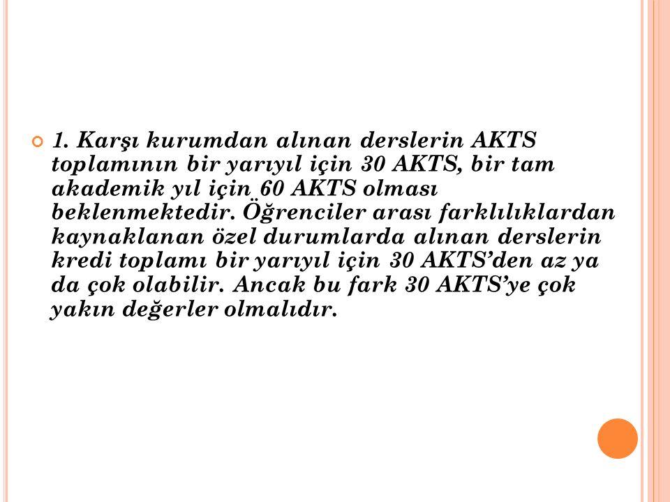 1. Karşı kurumdan alınan derslerin AKTS toplamının bir yarıyıl için 30 AKTS, bir tam akademik yıl için 60 AKTS olması beklenmektedir. Öğrenciler arası