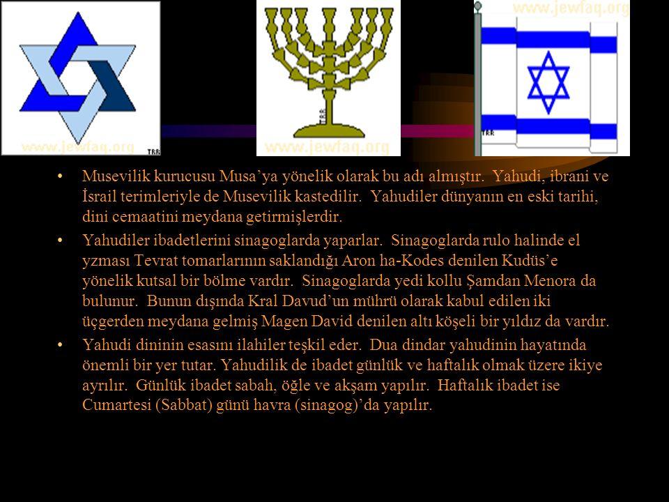 Musevilik kurucusu Musa'ya yönelik olarak bu adı almıştır. Yahudi, ibrani ve İsrail terimleriyle de Musevilik kastedilir. Yahudiler dünyanın en eski t