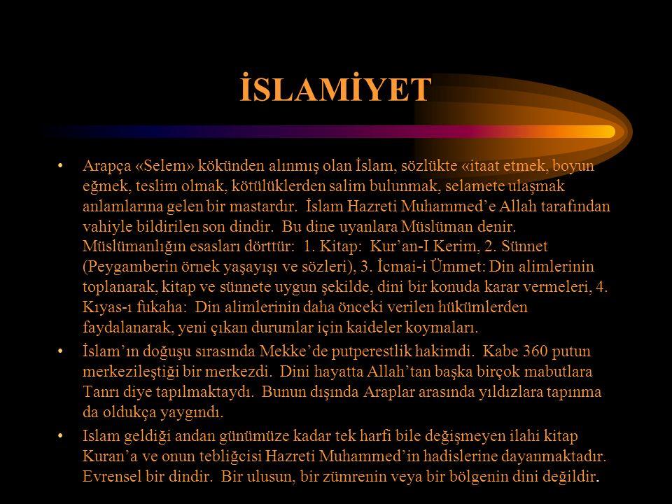 İSLAMİYET Arapça «Selem» kökünden alınmış olan İslam, sözlükte «itaat etmek, boyun eğmek, teslim olmak, kötülüklerden salim bulunmak, selamete ulaşmak
